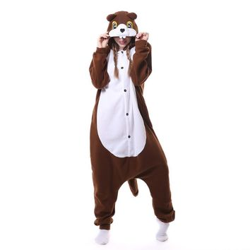 Adult Animal Squirrel Onesuit Sleepwear Anime Onesuits Cosplay Costume Pajamas Halloween Party Jumpsuits Costumes