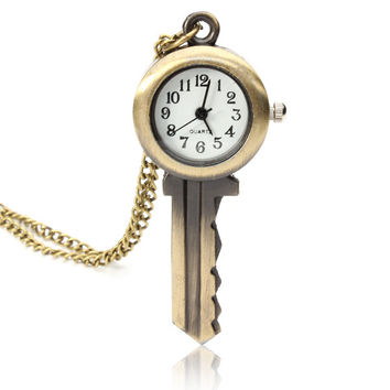 Fashion Key Design Arabic numbers Bronze Necklace Pocket Watch