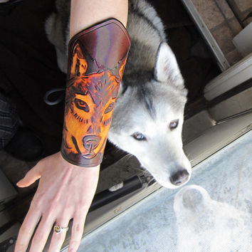 Wolf Bracers, Women's -Hand-tooled and hand-dyed, Ready to Ship