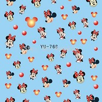 3 Sheets Mickey Mouse & Minnie Disney Cartoon Nail Art Stickers Water Transfer Decals Yu768