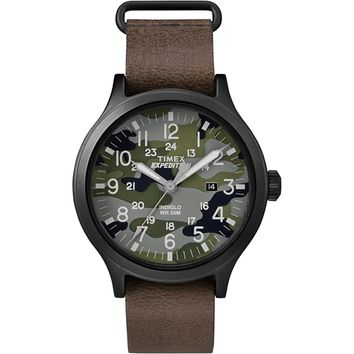 Timex Expedition Scout 43 Watch - Camo Dial-Brown Leather [TW4B06600JV]