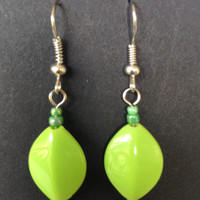 Lime Green Diamond Shaped Earrings - Acrylic