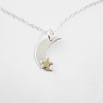 Sterling Silver Moon Charm with Brass Star Charm - discounted and ready to ship