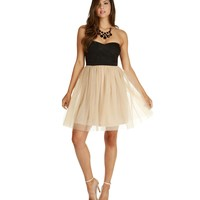 Taupe Party Gal Tulle Dress