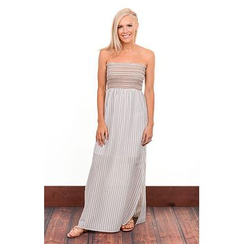 Striped Smocked Strapless Maxi Dress