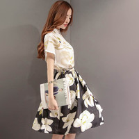 Floral Print Collared Batwing Sleeve  Swing Mini Dress