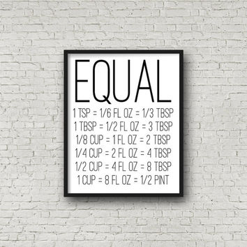 Equal, Measurements, Kitchen Decor, Cooking Decor,  Kitchen Signs, Kitchen Art, Baking, Baking Gifts, Home Decor, Modern Kitchen, Wall Print