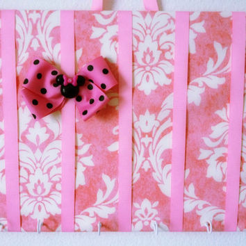 Medium Bubblegum Pink Damask Print Hair Bow Holder Accessory Wall Organizer Headband Holder with Hooks READY TO SHIP