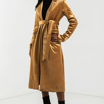 Velvet Tie Waist Trench Coat in Gold