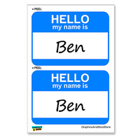 Ben Hello My Name Is - Sheet of 2 Stickers