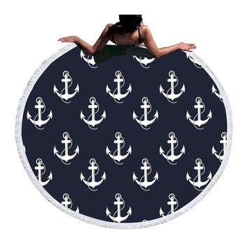 BeddingOutlet Large Round Beach Towel Blue for Adults Microfiber Summer Towel Yoga Mat 150cm Anchor Blanket