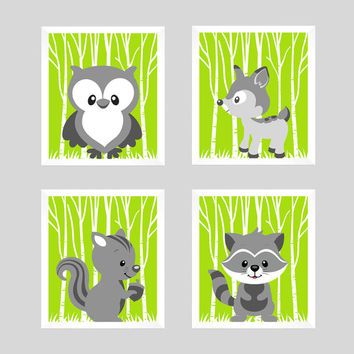 Woodland Animals Gray Forest Animals on Lime Green CUSTOMIZE COLORS, 8x10 Prints, set of 4, Nursery Decor Print Art Baby Room Baby Girl