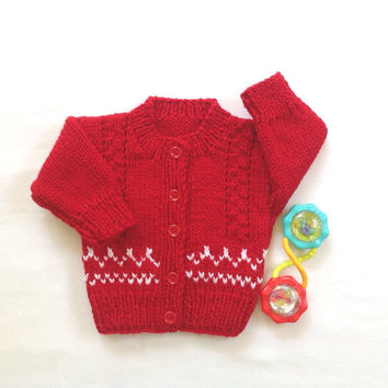 Red baby cardigan -  0 to 6 months - Baby shower gift - Infant red sweater - Christmas cardigan