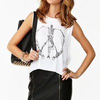Skeleton Peace Muscle Tee