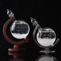 New Arrival Weather Forecast Crystal Wooden Glass Base Globe Shape Home Decoration