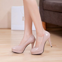 Solid Color Leather Platform Pumps