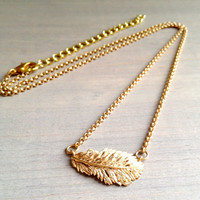 Dainty Feather Matte Gold Necklace -- FREE SHIPPING within the US