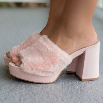 Show Up Pink Faux Fur Platform Heels