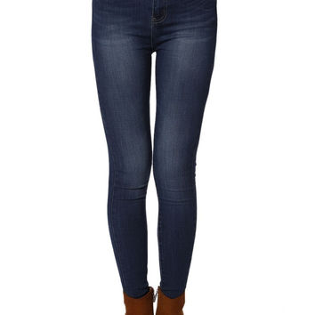 High Waist Second Skin Superskinny Jean In Blackened Blue