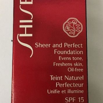 SHISEIDO SHEER AND PERFECT FOUNDATION OIL FREE SPF 15 NATURAL FAIR WARM BEIGE