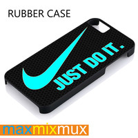 Mint Nike Just Do It On Carbon iPhone 4/4S, 5/5S, 5C, 6/6 Plus Series Rubber Case