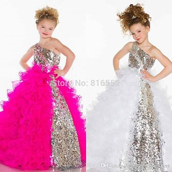 2017 Girls Pageant Dresses One Shoulder BlingBling Sequined Pleat Organza Ball Gown Flower Girl Dresses Vestido Daminha GR11