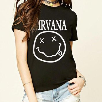2017 summer sexy fashion t shirt Nirvana Smiley Face print funny t shirts women kawaii brand streetwear harajuku punk tops tees