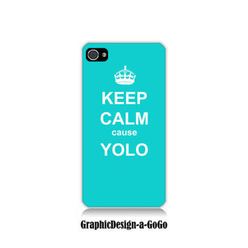 Iphone 4 case, Iphone 4s , Keep Calm cause Yolo Turquoise, custom cell phone case, Original design