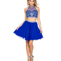 Preorder -  Royal Embellished Short Two Piece Dress 2015 Homecoming Dresses