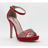 Red Rhinestone Kayla Closed Back Sandals