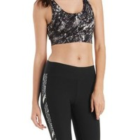 Black Multi Caged-Back Sports Bra by Charlotte Russe