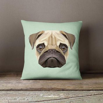 Geometric Pug Turquoise Decorative Throw Pillow Case Pillow Cover Design Pillowcase Birthday Gift Idea Him Her Home Decor Dog Lover Pug Pet