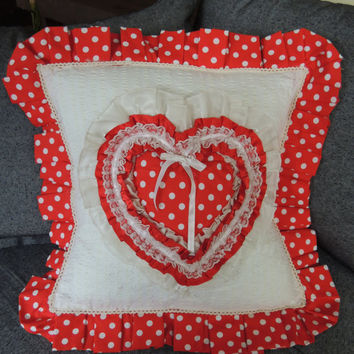 Heart Pillow Decorative Ruffle Pillow  Heart Cushion Red Polka Dot Cushion Valantine Cushion Red Cushion Cover Shabby Chic Handmade Cushion