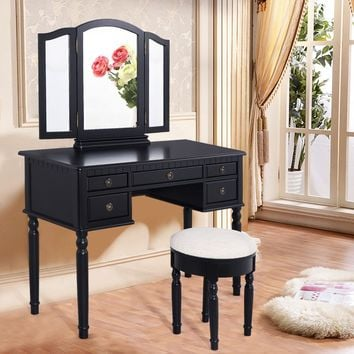 Costway 43''x19''x56'' Tri Folding Mirror Wood Luxury Vanity Makeup Set W/5 Drawer Black | Overstock.com Shopping - The Best Deals on Bedroom Accents