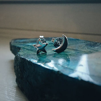 Star and Moon Earrings - Stud Celestial Crystal Healing Womens Piercings Bohemian Tumblr Hippie Boho Hipster Jewelry Jewellery