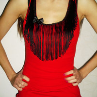 Red tank top with Black fringe