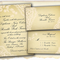 Wedding Invitation and RSVP Card Suite - Vintage Floral Lace Personalize Double Sided Print