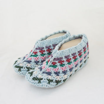 Knitted Socks / Slippers in Blue, Hand Knitted Women Winter Home Socks / Slippers, UK Seller
