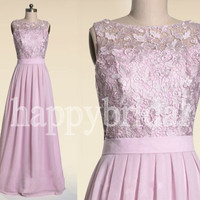 Long Lace Pink Prom Dresses Party Dresses Homecoming Dresses Evening Dresses 2014 New Fashion