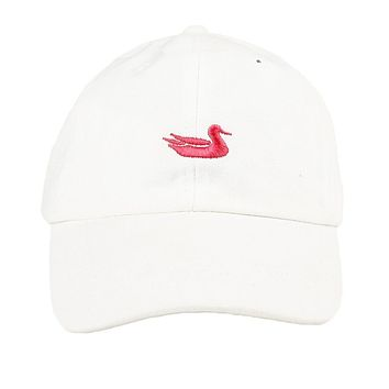 Hat in White with Pink Duck by Southern Marsh
