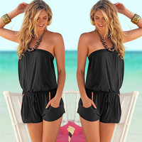 Strapless Drawstring Waist Romper with Pockets