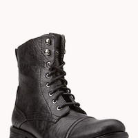 Crinkled Faux Leather Combat Boots