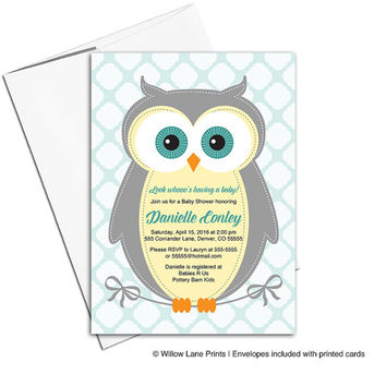 Gender Neutral Baby Shower Invites with Owls, Yellow, Gray and Aqua, Invitations Printable or Printed (784)