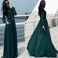 Women Prom Ball Cocktail Party Dress Formal Gown Long Dress Green
