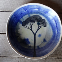 Blue pasta bowl, watercolour tree design, stoneware, Ceramics and Pottery, Australian Made, Australian ceramics, handmade ceramics