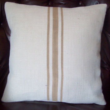 Grain Sack Pillow Cover with Tan Stripes 16 x 16 / Decorative Pillow Cover