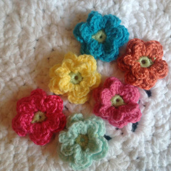 Hand Crochet Bright Flower Appliques Embellishments-Set of 6- Bright Colors Aqua Teal Yellow Orange Bubblegum Hot Pink