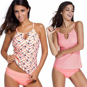 DCCKF4S 2017 Womens Pink Tribal Anchor Printed Push Up Tankini With Panty Two Pieces Swimsuit Sets Modest Women Swimwear Plus Size S-XL