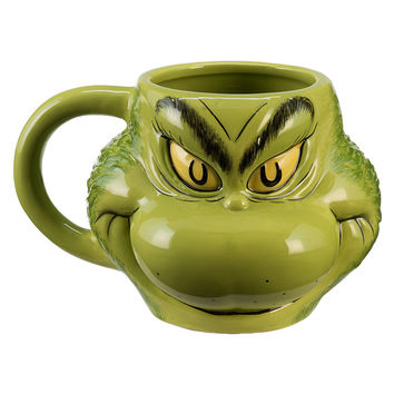 Dr. Seuss The Grinch by Vandor Sculpted Ceramic Coffee Mug New with Box
