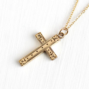 Vintage Cross Necklace - 12k Rosy Yellow Gold Filled 1940s Small Engraved Floral Pendant - Petite Charm Symbolic GF Religious 40s Jewelry